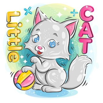 Cute little cat playing a colorful ball with happy expression. colorful cartoon illustration.