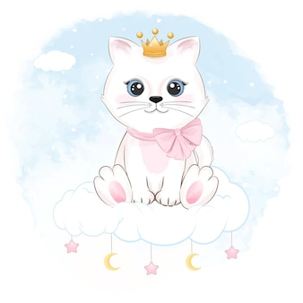 Милый котенок сидит на облаке
