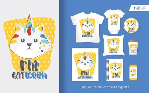 Милый маленький кот-единорог. дизайн для товаров