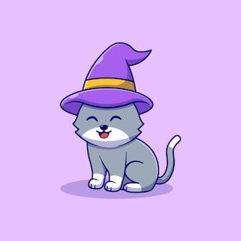 마녀 모자와 함께 귀여운 작은 고양이 벡터 일러스트 디자인