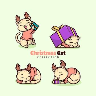 クリスマスセーターと鹿のヘッドバンドのイラストコレクションを身に着けているかわいい小さな猫