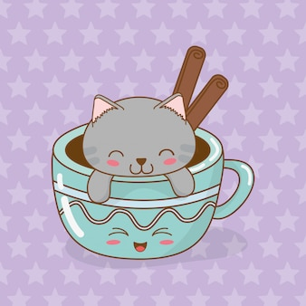 Cute little cat with coffee cup kawaii character