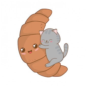 Cute little cat with croissant kawaii character
