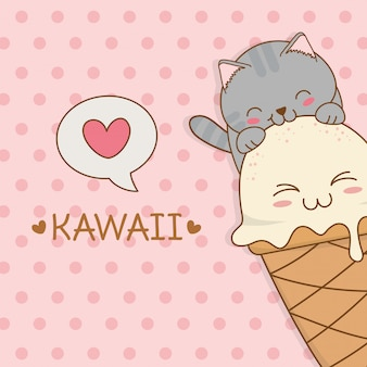 Cute little cat with ice cream kawaii character