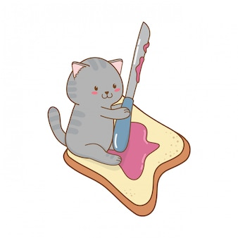 Cute little cat with toast bread kawaii character