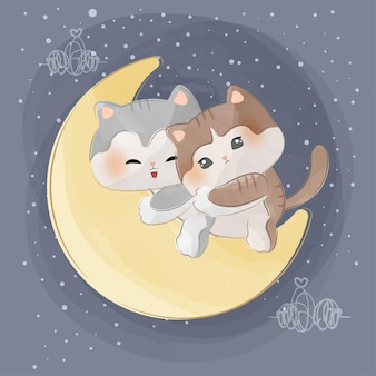 Cute little cats on the moon