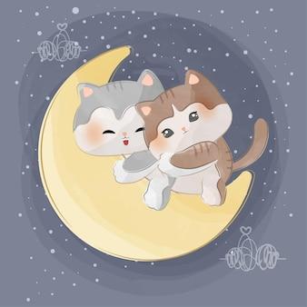 달에 귀여운 작은 고양이
