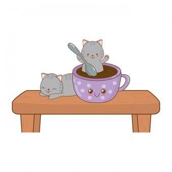 Cute little cats with chocolate mug kawaii characters