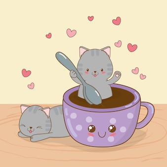 Cute little cats with coffee cup kawaii characters