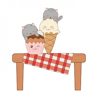 Cute little cats with ice cream and cupcake kawaii