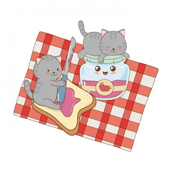 Cute little cats with strawberry jam kawaii characters
