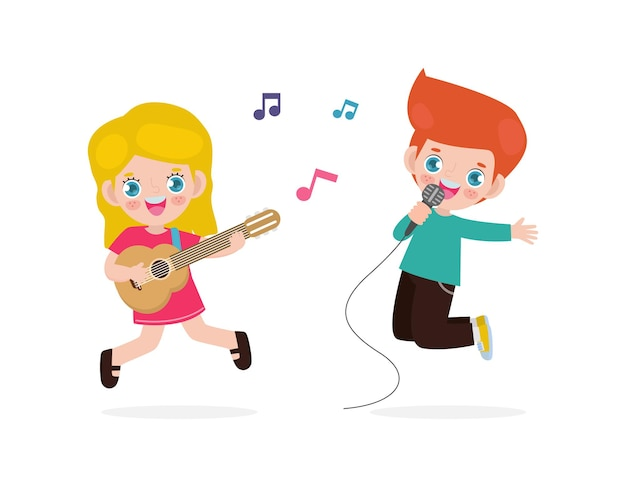 かわいい小さな白人の男の子と女の子がギターを弾いて歌う