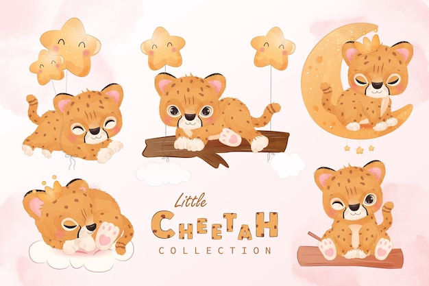 Cute little cheetah clipart collection in watercolor illustration