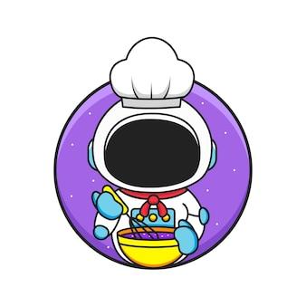 Cute little chef astronaut wears hat