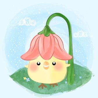かわいい小さなひよこと花の帽子