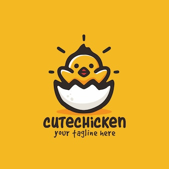 Cute little chicken cartoon illustration mascot logo