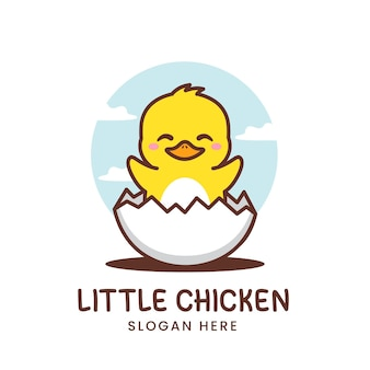 卵のロゴが付いたかわいい鶏
