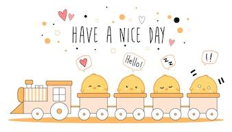 電車でかわいい小さな鶏漫画落書きバナー