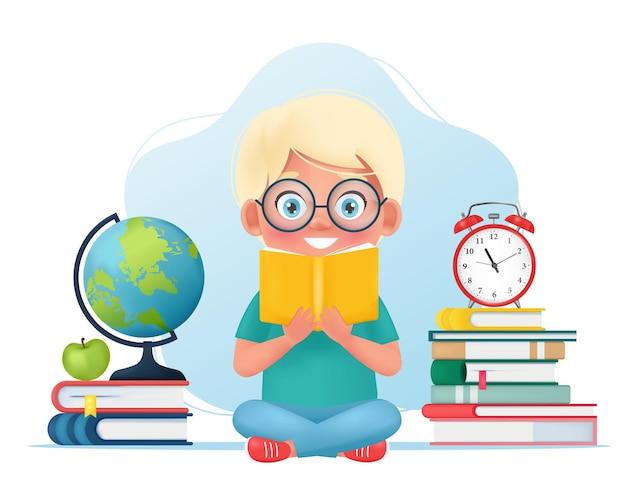 책을 손에 들고 만화 스타일로 책 벡터 삽화를 읽고 있는 귀여운 아이