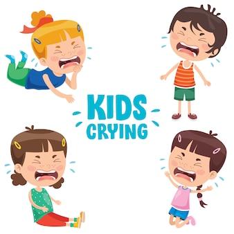 かわいい小さな子供が泣いています