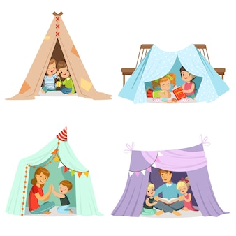 Cute little children playing with a teepee tent, set for  . cartoon detailed colorful illustrations