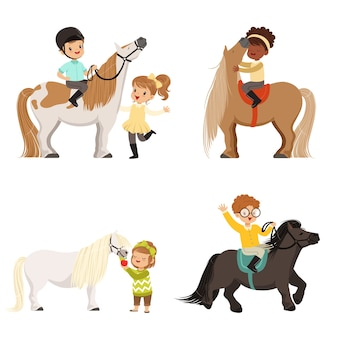Cute little children riding ponies and taking care of their horses set, equestrian sport,  illustrations  on a white background