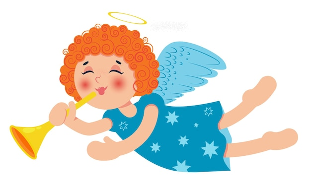 Cute little christmas angel with trumpet. curly redhead baby girl.