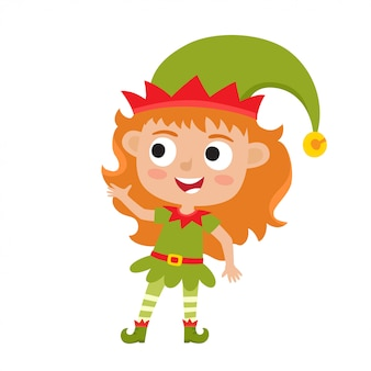 Милая маленькая рождественская девушка эльф улыбается