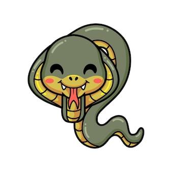 귀여운 작은 코브라 뱀 만화