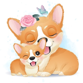 Cute little corgi mother and baby