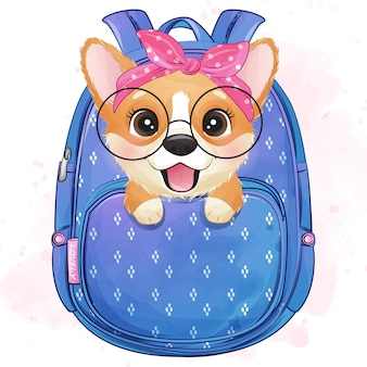 Cute little corgi sitting inside a bag