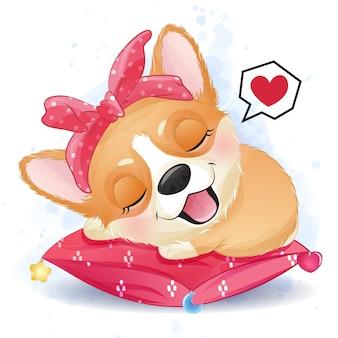 枕で寝ているかわいい小さなコーギー