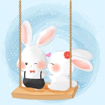 Cute little couple bunny