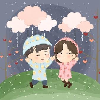 Милая маленькая пара под дождем