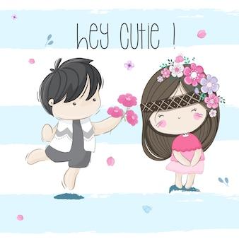 Cute little couple kids illustration