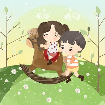 Cute little couple with rocking horse