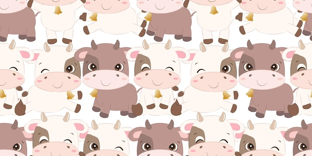 Cute little cow seamless pattern for children fabric wallpaper and many more