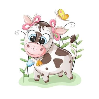 Cute little cow with pink bows on ears, looking on beautiful flower