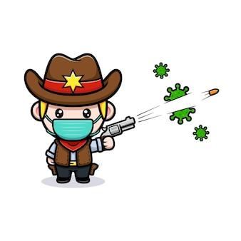 かわいいカウボーイがウイルスのマスコットのイラストを撃ちます