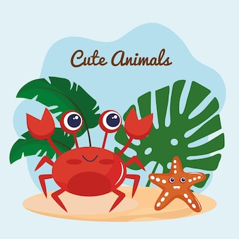 Cute little crab and starfish animals kawaii characters