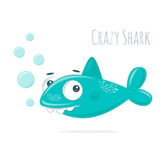 Cute little crazy shark with bubbles