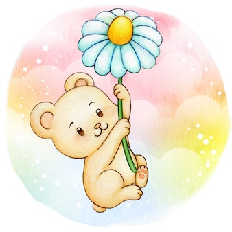 Cute little cream bear hanging on a flying daisy