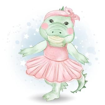 Cute little crocodile ballerina watercolor illustration