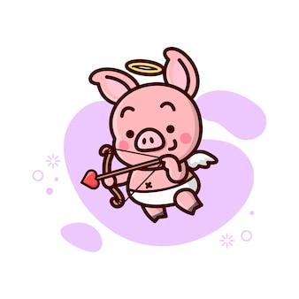 Милая маленькая свинья-купидон летит и приносит стрелу.