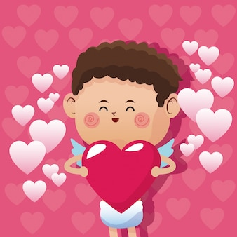 Cute little cupid valentine day glossy cute pink hearts