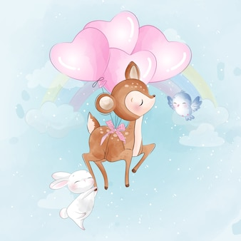 Cute little deer and bunny flying with a balloon