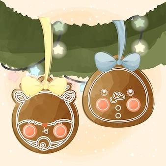 귀여운 작은 사슴 생강과 눈사람 쿠키
