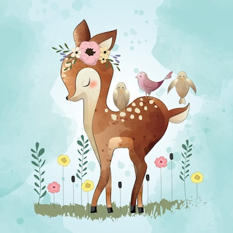Cute little deer and his friends