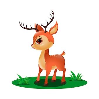 풀밭에서 귀여운 작은 사슴