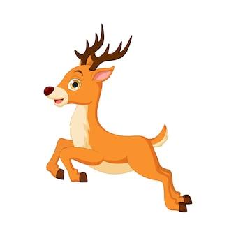 귀여운 작은 사슴 점프에 고립 된 화이트